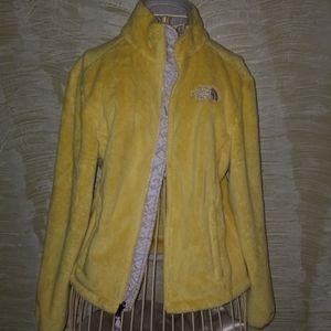 Yellow fuzzy North face jacket